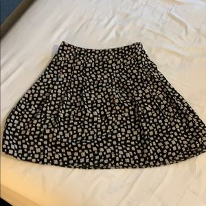 Black and white printed a-line skirt.